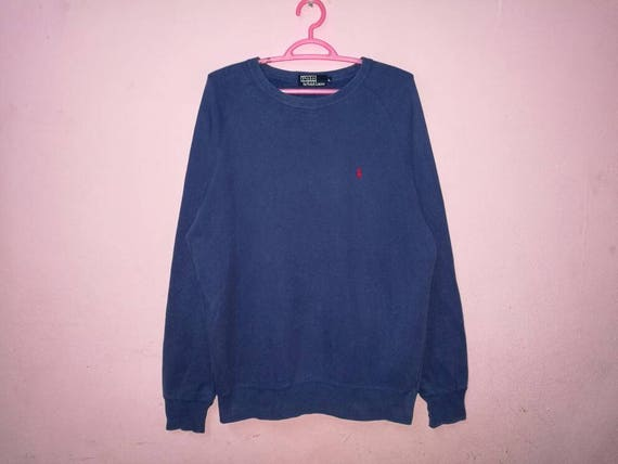 RARE !! Polo by ralph lauren zipper sweatshirt blue colour PRL Small Pony Embroidery Pullover Jumper Sweater V2oS6