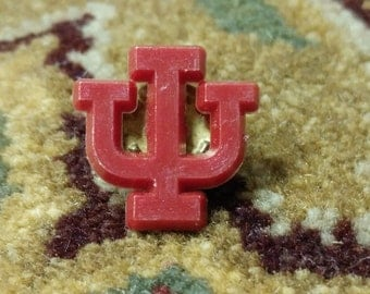 SPRING SALE! Vintage Indiana University IU Lapel Pin, Plastic with Metal Clutch back Hoosiers Tie Pin