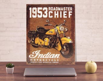 Motocycle metal sign, Motocycle sign, Classic motocycle, Indian metal sign, Indian sign, Roadmaster sign, Art metal sign, Metal wall sign