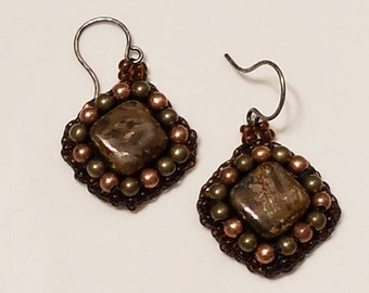 Bronze and Stone earrings
