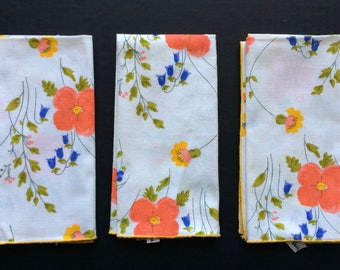 Vera Neumann Set of 3 Vintage Napkins Featuring A Blue Yellow and Red Floral Design