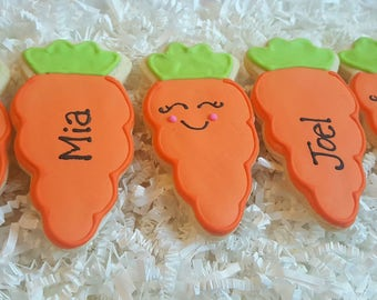 Easter Personalized Carrot Cookies one dozen Party Favors