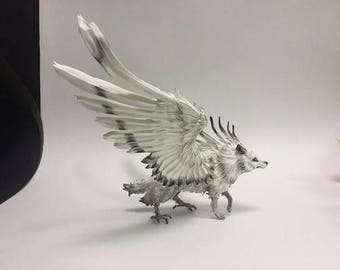 Figurine white winged wolf, statuette wolf, sculpture wolf