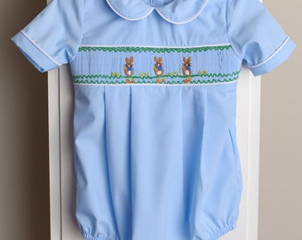 Easter Embroidery Boys Bubble Romper