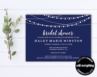 Navy Blue Bridal Shower Invitation Template - Bridal Shower Invite - Printable Invite Wedding Shower - Printable Bridal Invitation
