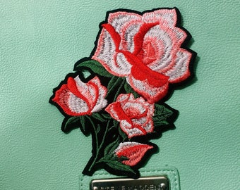 Ad/roses/red/pink/flowers/free shipping iron on patch /embroidery appliqués