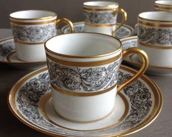 French china coffee cups and saucers. French porcelain demi tasse. Limoges France. Bernardaud.