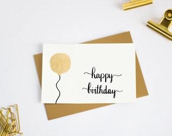 Birthday card, birthday card, card for birthday, congratulations, balloon, birthday, gold foil, handmade