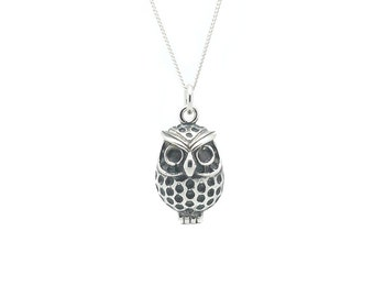 Silver Owl Necklace, Tattoo Inspired 925 Sterling Silver Too Wit Too You Owl Necklace