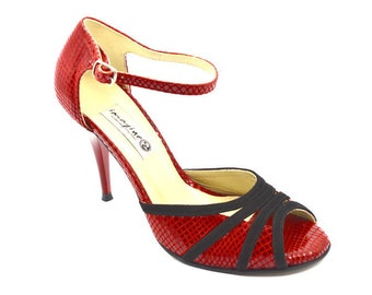 Imagine F-343 Impressive Peep toe Design by red snake and black suede leather