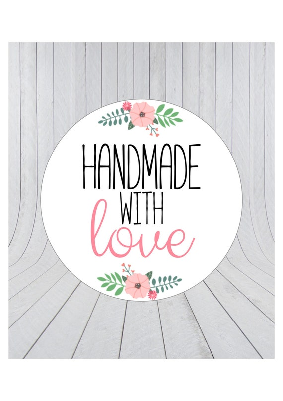 Handmade with love stickers, handmade stickers, handmade ...
