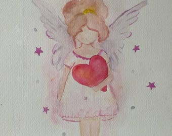 Picture Angel for child acrylic ink watercolor personalized gift baby