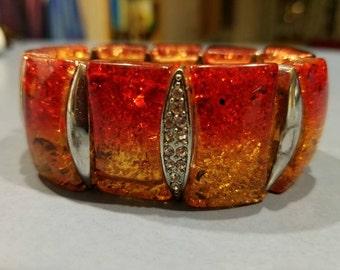 Red and yellow Art deco bakelite and rhinestone panel bracelet