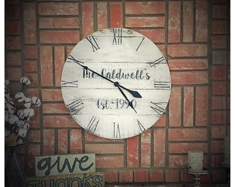 """24"""" Personalized farm style wall clock"""