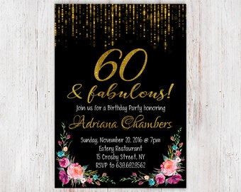 Sixty, watercolor floral, happy 60th birthday, adult birthday, floral invitation, 60th birthday, birthday invitation, black and gold 96