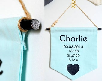 Pennant decorative banner to custom message cotton Mint name baby child room Decoration