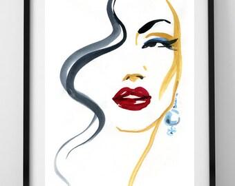 Fashion Illustration Print, Pearl Earring Fashion Print, Red Lips Illustration, Watercolor Art Print, Glamour illustration