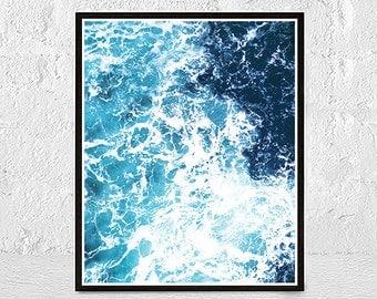 Ocean Art Print, Waves, Water, Coastal Wall Decor, Beach Art, Modern Minimalist, Ocean Wall Art, Large Printable Poster, Digital Download