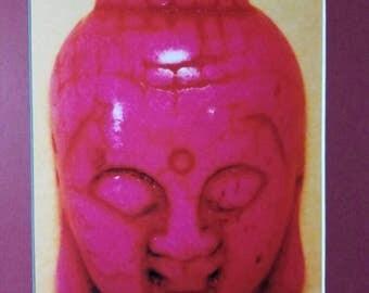 Pink Buddha Head Matted Photograph