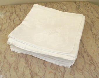 12 vintage 1920's  French linen damask table napkins