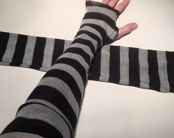 Trixy Xchange Elbow Length Grey Striped Gloves with Thumb Holes Black Arm Warmers Grey Sleeves Black Armwarmers with Finger Holes Steampunk