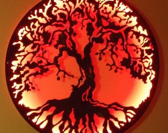 Tree Of Life, Metal Art - Metal Art Wall Lamp with LED lights, Wall Decor