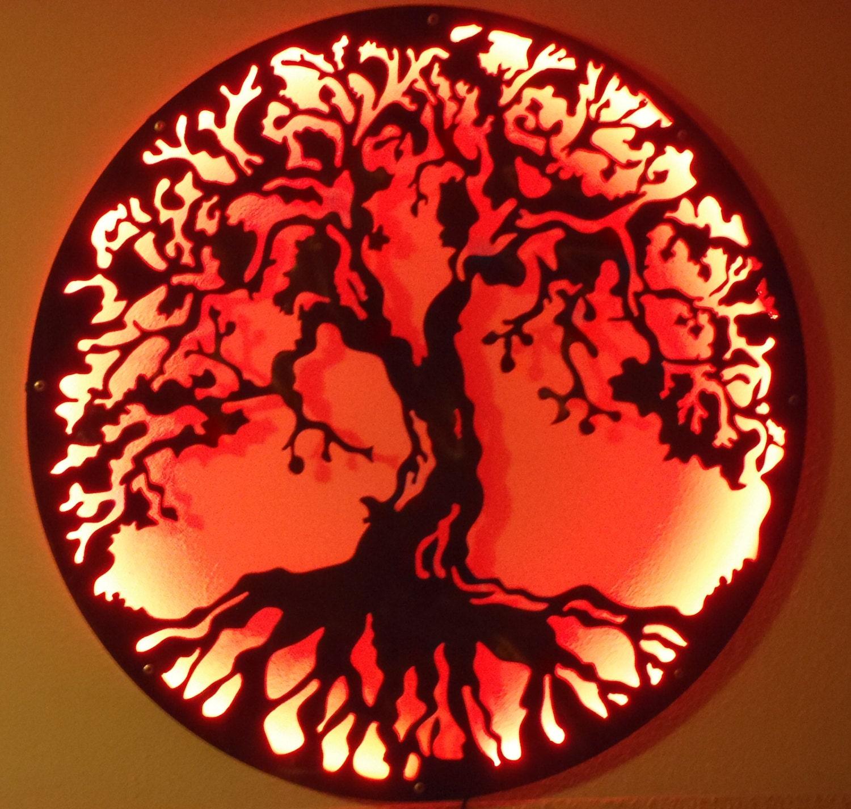 Tree Of Life Metal Art Metal Art Wall Lamp with LED lights