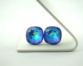 12mm Multitoned Blue Swarovski Studs // Hypoallergenic Studs