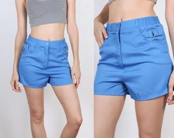 Vintage High Waisted Shorts Swim // 80s Blue Shorts Swimsuit Retro Mens Womens - Small to Medium