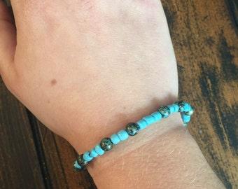 Turquoise Beaded Bracelet - Boho Bracelet - Friendship Bracelet - Handmade Beaded Blue Bracelet - Personalized & Custom Jewelry