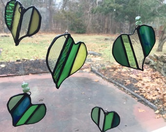 Heart stained glass mobile
