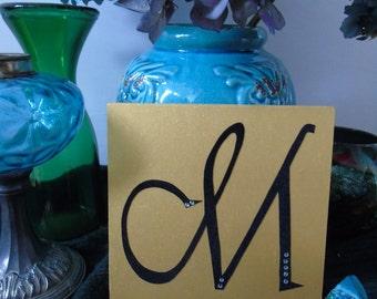 M - letter on wood, wooden letter, made hand, handmade, gift, present, gold or silver, gold or silver, black velvet, black velvet, rhinestones