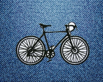 Black Bicycle Patch Embroidered Iron On Patches DIY By IronOnDIY