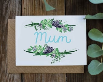 Mum Mother's Day Botanical Floral Illustrated Greetings Card