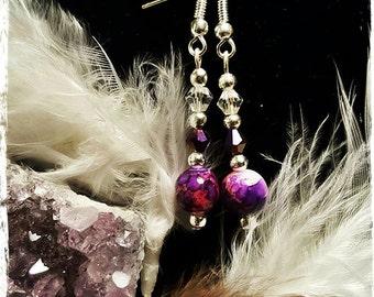 Pretty Handmade Pink and Purple Swirled Dangle Earrings