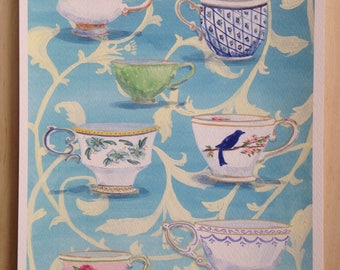 Medley of Teacups on Turquoise and White Floral Pattern Archival Print of Original Gouache Painting