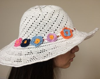 Crochet white sun hat...Cotton summer hat
