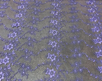 """Lavender Floral Design Embroidered Mesh Lace Fabric Sold By The Yard 54"""" Width"""