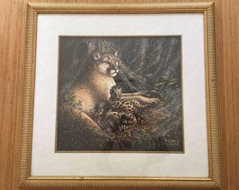 "Vintage wildlife artist Sherry Vintson signed/dated 92' limited edition 867/1950 Glicee print ""The Guardian"" mountain lion and cubs framed"