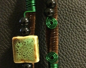 Cute green loc jewel set