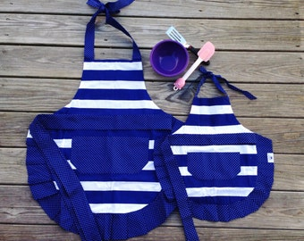 Mommy + Me Apron Set - Navy and White Stripes with Polka Dots
