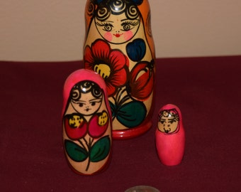 Small Pink Wooden Russian Nesting Dolls