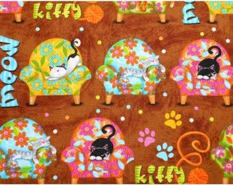 Cotton Fabric Quilting Novelty Sleeping Cats