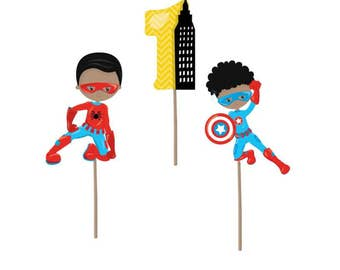 Cupcake Topper, Superhero cupcake toppers, superhero party, superhero birthday, superhero decorations, first birthday, party supplies