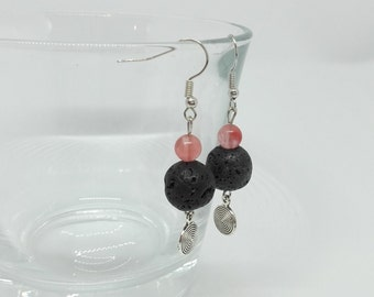 Natural rose quartz stones, lava stone and charm earrings