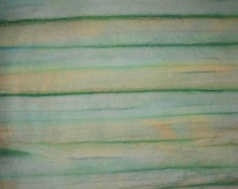Green Striped, Cotton, Unique Hand Dyed FQ