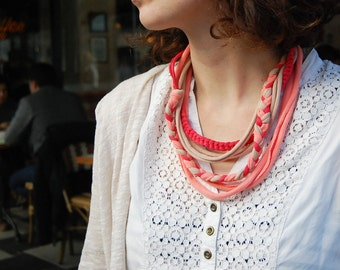 Handmade cotton yarn hand knitting scarf necklace orange-peach