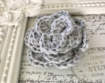 Grey Crochet Flower Magnet