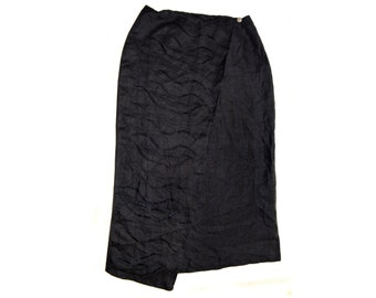 Vintage Private Italy skirt black linen embroidery Made in Italy