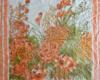 Vintage women scarf pure 100% silk pastel colors orange green flowers floral Hand Rolled